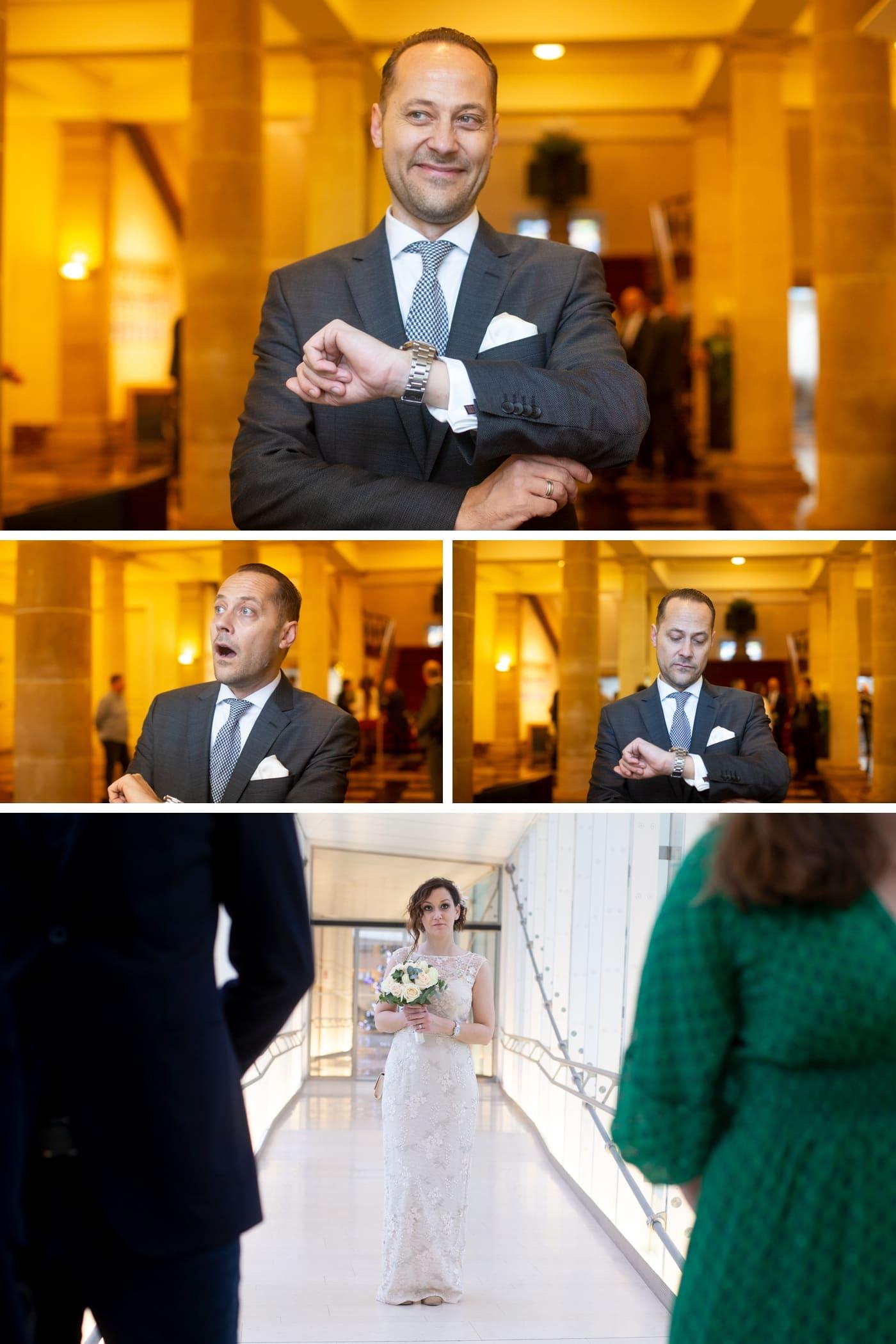 surprise du mariéen voyant la mariée arrivée à la commune